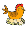 comic cartoon hen on eggs vector image