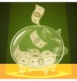 Glass piggy bank vector image