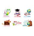 school graduation icons set vector image