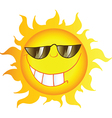 Smiling Sun Cartoon Character With Sunglasses vector image