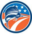 Sailfish Fish Jumping American Flag Circle Retro vector image