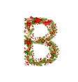 christmas floral tree letter B vector image