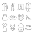Female clothes line icons set vector image