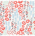 Seamless pattern design with hand drawn flowers vector image
