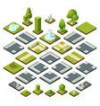 set of isometric city elements crossroads vector image