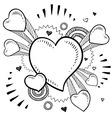 doodle pop heart vector image vector image