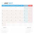 Calendar Planner for July 2017 vector image