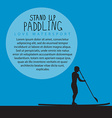 a men with stand up paddle board and paddle vector image