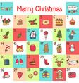 advent calendar with christmas cartoon vector image