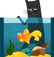Black cat and goldfish vector image