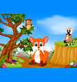fox owl and lemur with mountain cliff scene vector image