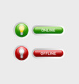 Online and offline buttons vector image