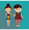 Flat web icon with long shadow husband and wife vector image