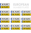 european number plates vector image vector image