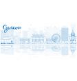 Outline Geneva skyline with blue buildings vector image