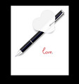 black pen paper hearts valentines day vector image
