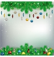 Christmas background with snowflakes and branches vector image