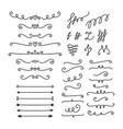 hand drawn calligraphic design elements set of vector image