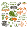 Icons set of campus rugby team vector image