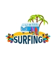 Hippie surfing poster with bus vector image