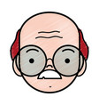 old man face with glasses and mustache vector image