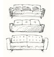 Set of hand drawn sofa vector image
