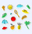 summer stickers set doodle background with beach vector image