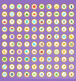 100 payment icons set in cartoon style vector image