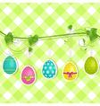Hanging Easter egg background on green vector image vector image