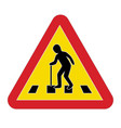 traffic sign warning pedestrian elderly vector image