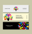 banner set art tree design vector image