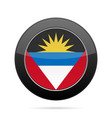 flag of antigua and barbuda black round button vector image