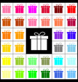 gift box sign  felt-pen 33 colorful icons vector image