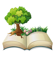 An open book with a tree vector image vector image