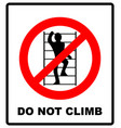 do not climb on shelving sign prohibition sign in vector image