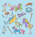 fashioned stickers nineties retro style vector image