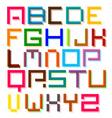 Font Colorful Pixel Retro Digital Alphabet Letters vector image