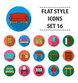 furniture and home interior set icons in flat vector image