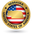 Nebraska state gold label with state map vector image