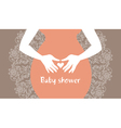 Silhouette pregnant mother with heart symbol vector image