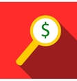 Magnifier with increase money icon flat style vector image