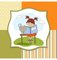 young sweet girl reading a book vector image