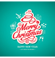 christmas sign design on green background vector image vector image