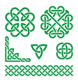 Celtic green Irish knots braids and patterns vector image vector image