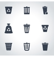 black trash can icon set vector image vector image