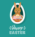happy easter card rabbit with basket eggs oval vector image