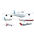 Five designs of airplanes vector image