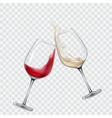 Set transparent glasses with white and red wine vector image