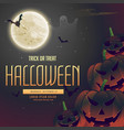 halloween night pumpkins on the moon background vector image