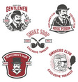 set of smokers club gentlemen club labels design vector image